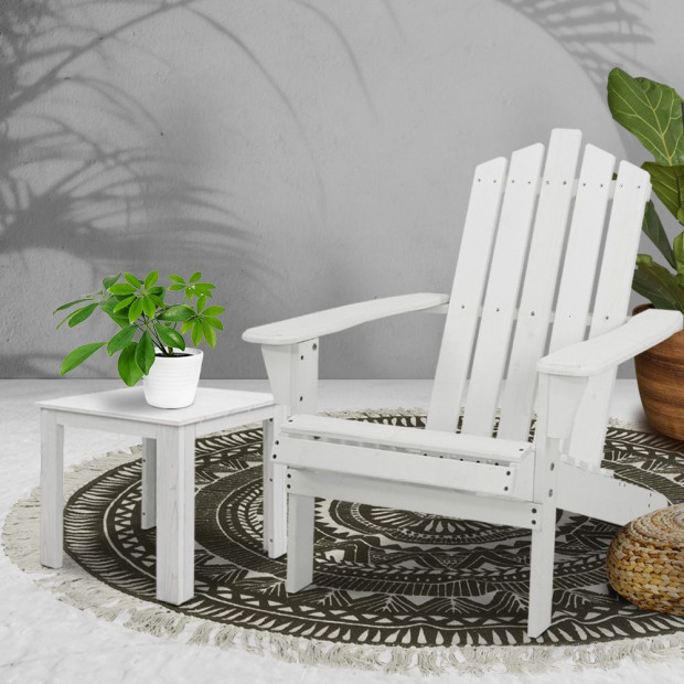 Outdoor Sun Lounge Beach Chair Table Set Wooden Adirondack Patio White Image 7