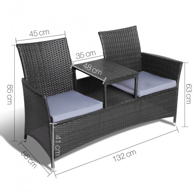 2 Seater Outdoor Wicker Rattan Furniture Bench - Black Image 1