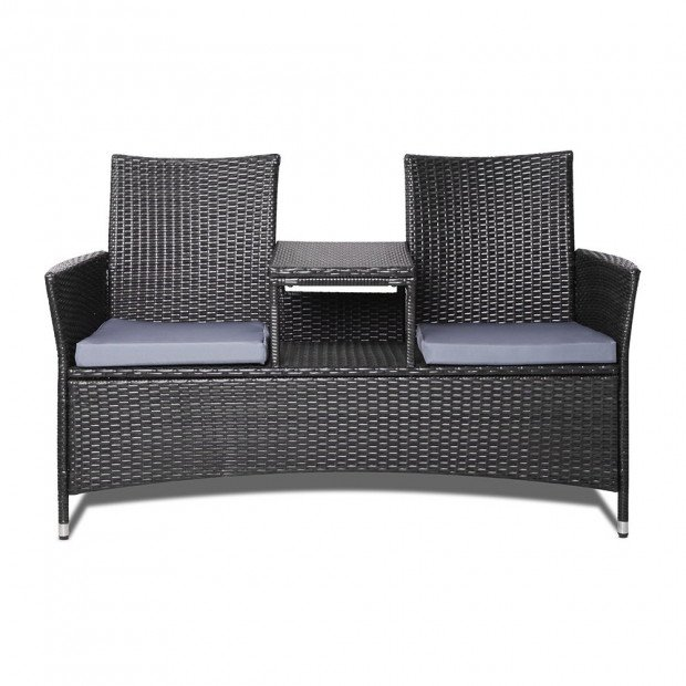 2 Seater Outdoor Wicker Rattan Furniture Bench - Black Image 2