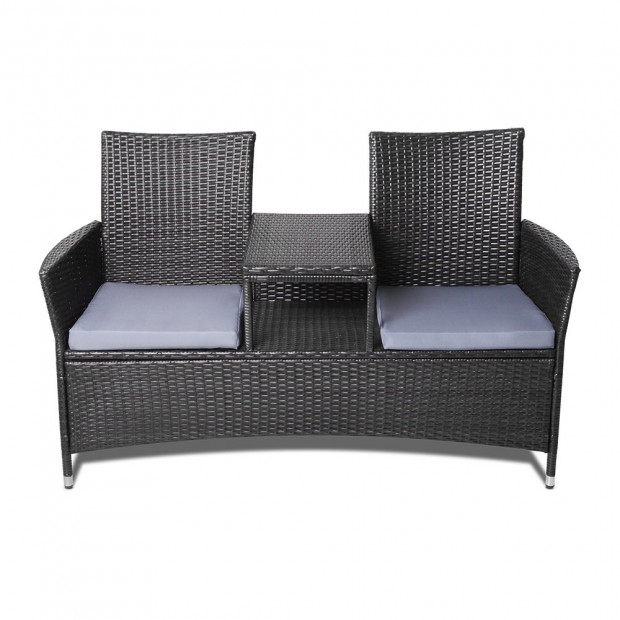 2 Seater Outdoor Wicker Rattan Furniture Bench - Black Image 3
