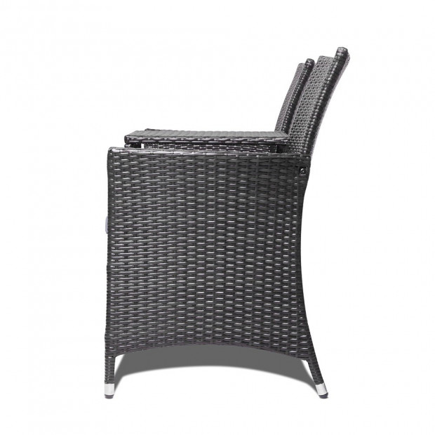 2 Seater Outdoor Wicker Rattan Furniture Bench - Black Image 4