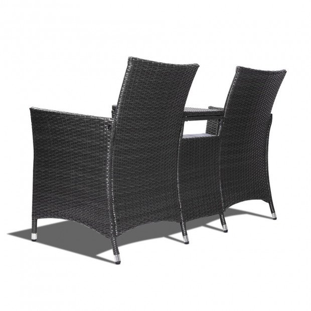 2 Seater Outdoor Wicker Rattan Furniture Bench - Black Image 5