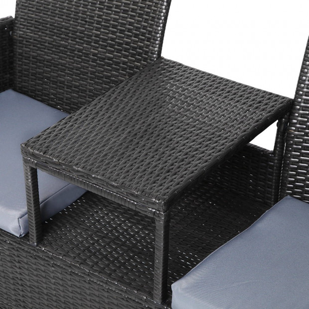 2 Seater Outdoor Wicker Rattan Furniture Bench - Black Image 7