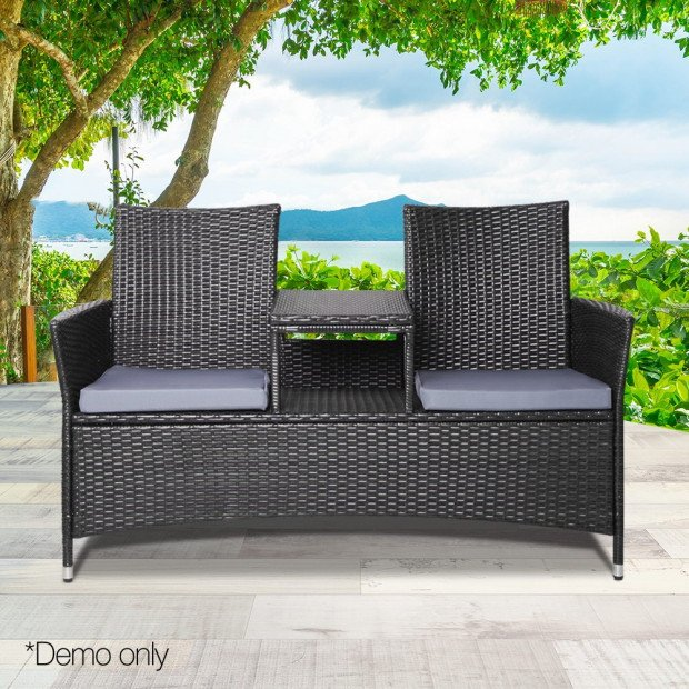 2 Seater Outdoor Wicker Rattan Furniture Bench - Black Image 10
