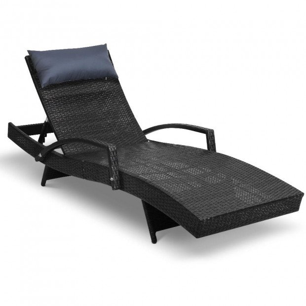 Outdoor Sun Lounge Furniture Day Bed Wicker Pillow Sofa Set Black