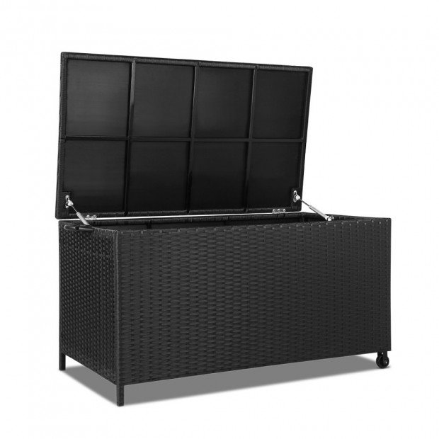 Wicker Outdoor Storage Box Black