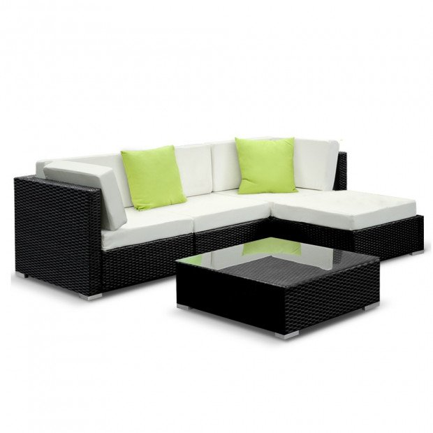 5PC Outdoor Furniture Sofa Set Wicker Garden Patio Pool Lounge