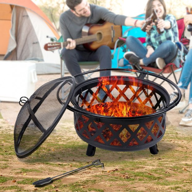 Outdoor Fire Pit Bbq Portable Camping Fireplace Heater Patio Garden Grill Image 7
