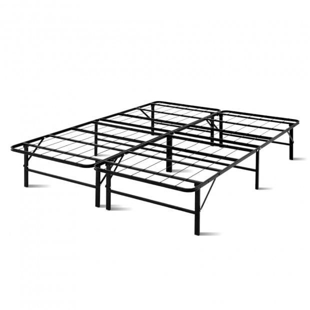 Foldable Queen Metal Bed Frame Smart - Black