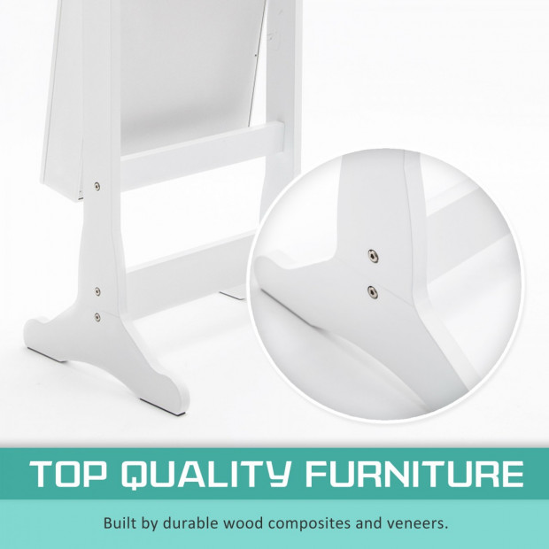 Mirror Jewellery Cabinet 2x Drawer LOWE - WHITE Image 2