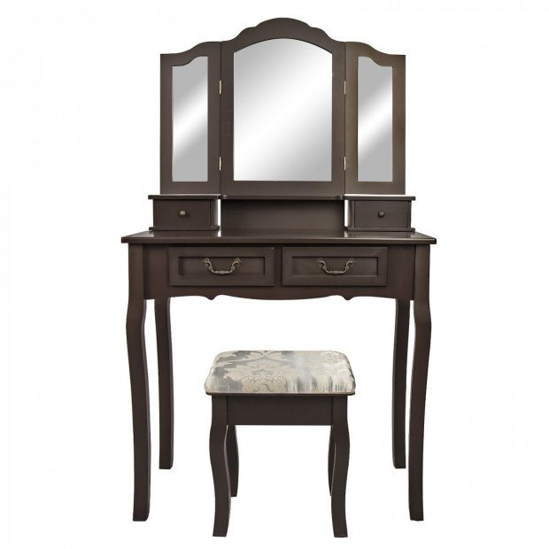 Dressing Table 4 Drawers 3 Mirrors - DIANA BROWN