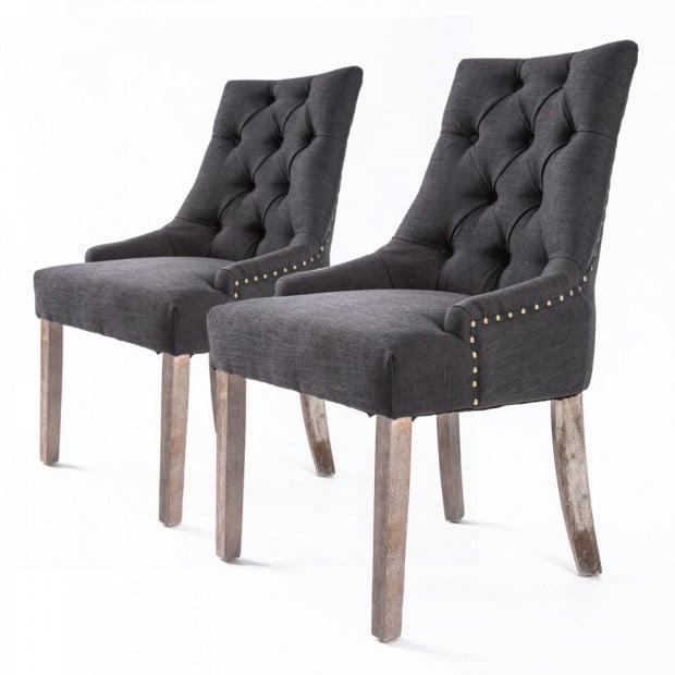 2X French Provincial Oak Leg Chair AMOUR - BLACK