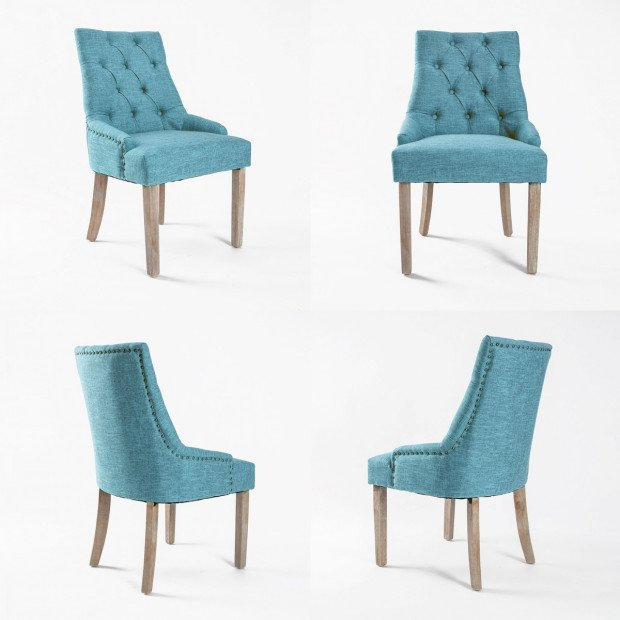2X French Provincial Oak Leg Chair AMOUR - BLUE Image 2