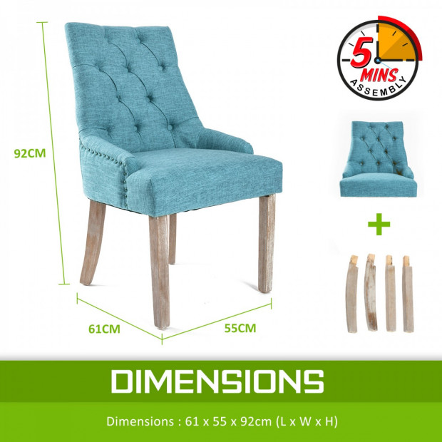 2X French Provincial Oak Leg Chair AMOUR - BLUE Image 9