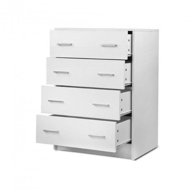 Tallboy 4 Drawers Storage Cabinet - White