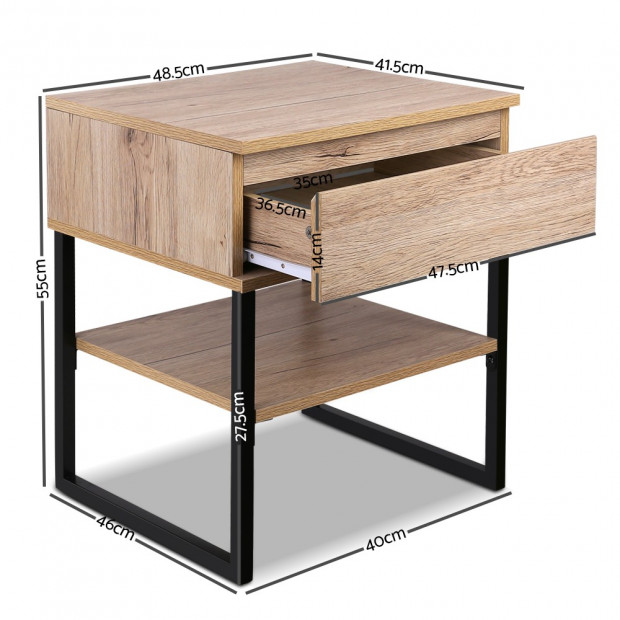 Artiss Chest Style Metal Bedside Table Image 1