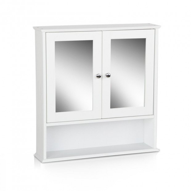 Bathroom Tallboy Storage Cabinet with Mirror - White