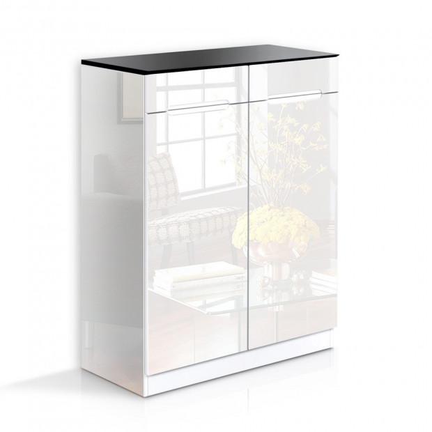 High Gloss Shoe Cabinet Rack - Black / White