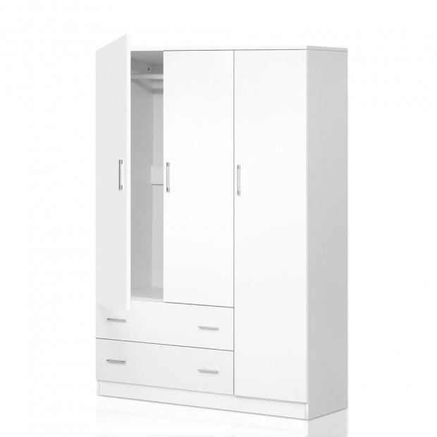 3 Doors Wardrobe Bedroom Closet Storage Cabinet Armoire 170cm