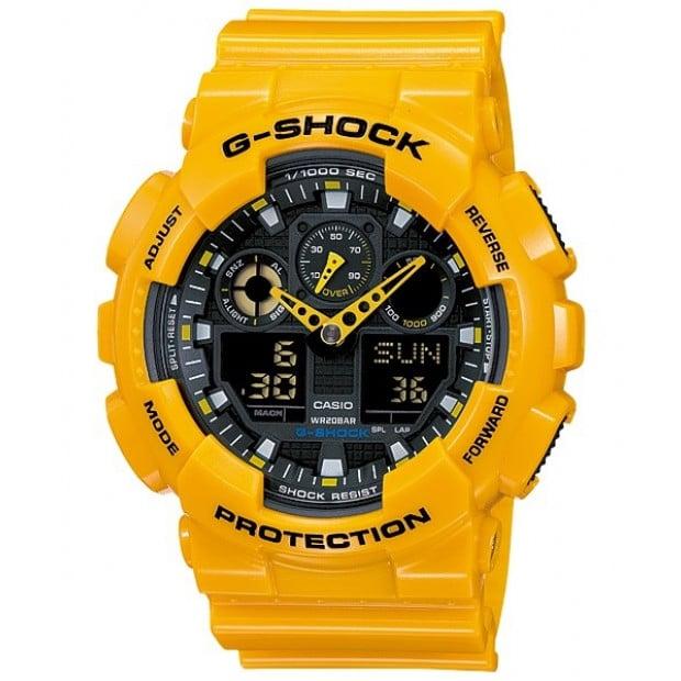 Casio G-Shock Analogue/Digital Mens Yellow Watch GA100A-9A
