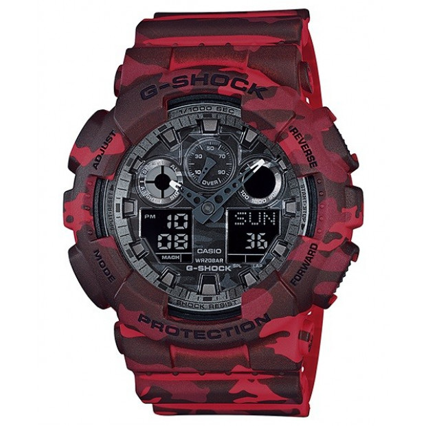 Casio G-Shock Analogue/Digital Mens Camouflage Red Watch