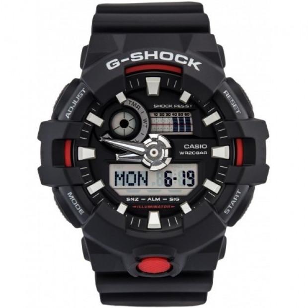 Casio G-Shock Black / Red Analogue/Digital Mens Watch GA700-1A