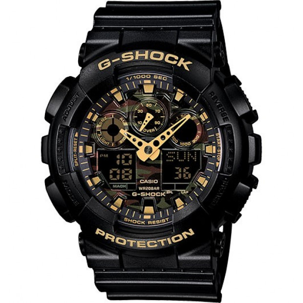 Casio G-Shock Analogue/Digital Mens Camouflage Black/Gold