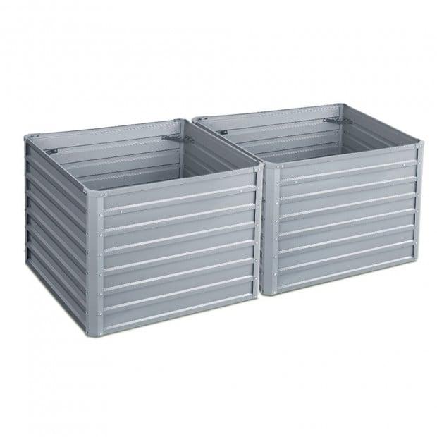 Steel Raised Garden Bed Instant Planter 100 x 100 x 77cm Aluminium X2