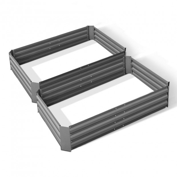 Green Fingers Set of 2 120 x 90cm Raised Garden Bed - Aluminium Grey