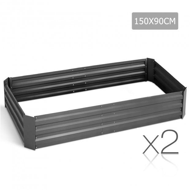 Set of 2 Galvanised Steel Garden Bed - Aluminium Grey