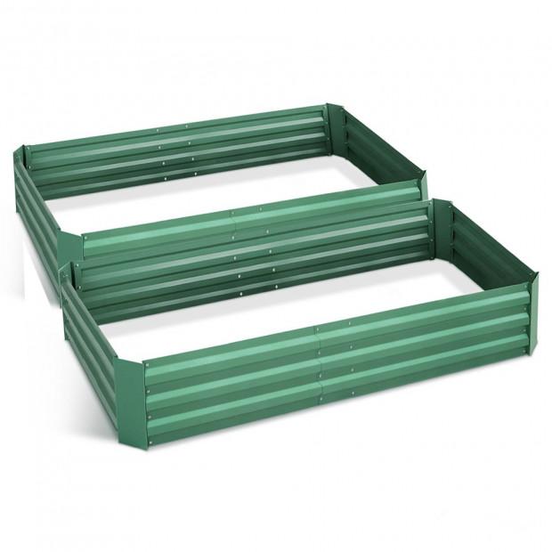 Green Fingers Set of 2 210cm x 90cm Raised Garden Bed - Green