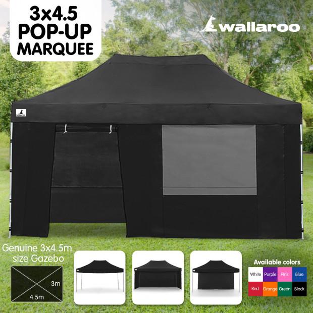 Wallaroo 3x4.5m Popup Gazebo Black