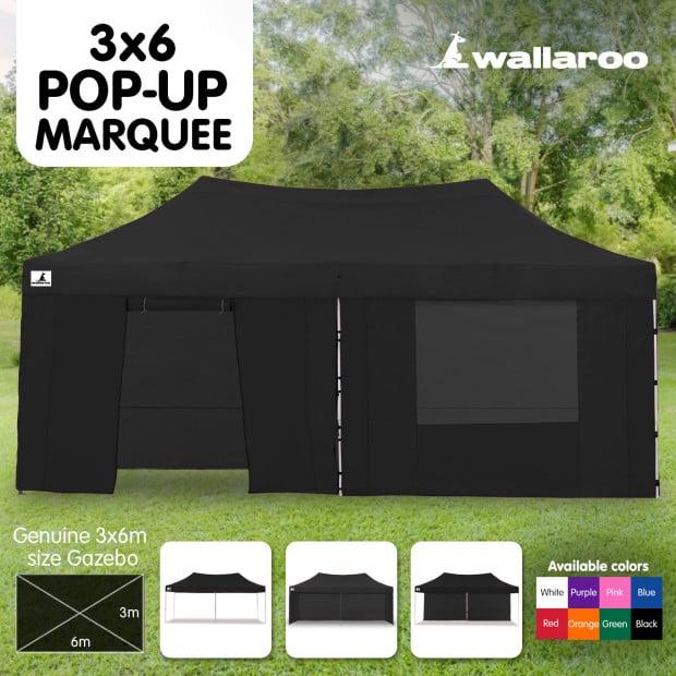 Wallaroo 3x6 Marquee - PopUp Gazebo - Black