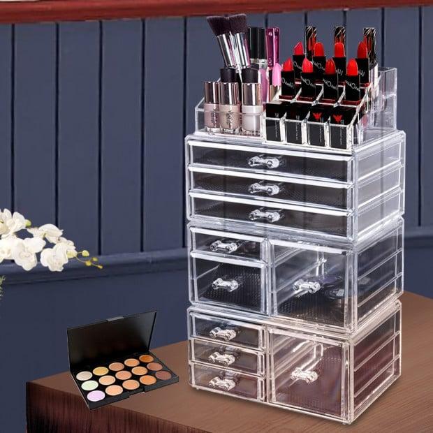 Cosmetic 10 Drawer Makeup Organizer Storage Jewellery Box Holder