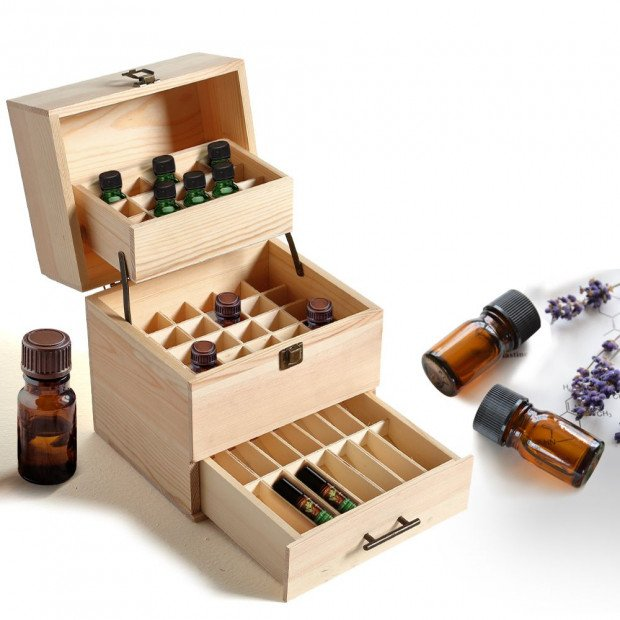 Essential Oil Storage Box Wooden 59 Slots Aromatherapy Container Case