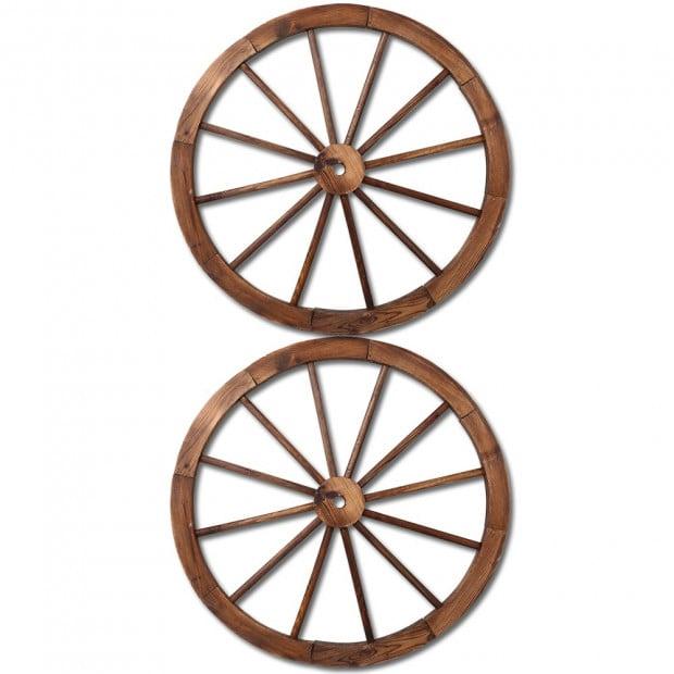 2x Decorative Garden Wooden Wagon Wheels