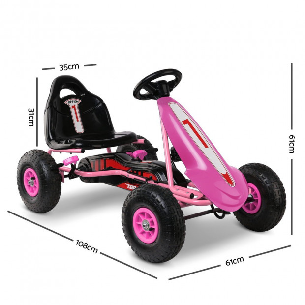 Kids Pedal Powered Go Kart - Pink Image 1