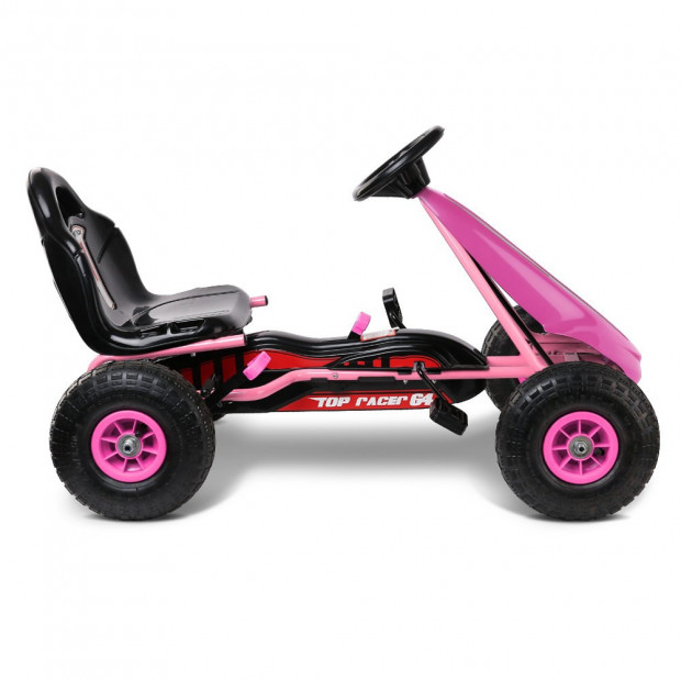 Kids Pedal Powered Go Kart - Pink Image 3