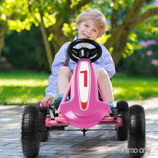 Kids Pedal Powered Go Kart - Pink Image 9