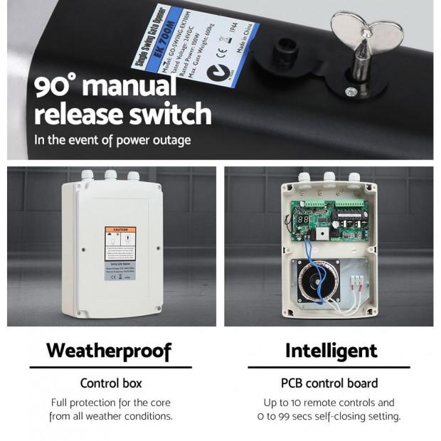 LockMaster 40W Swing Gate Opener Auto Solar  Remote Control 600KG Image 2