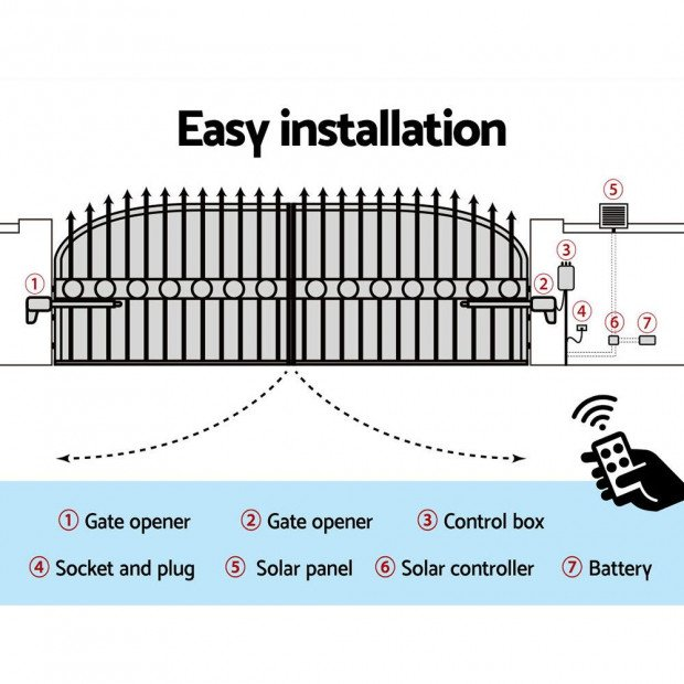 LockMaster Swing Gate Opener Auto 40W Solar Power Control 1000KG Image 5