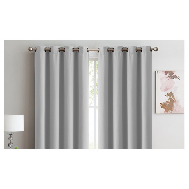 2x 100% Blockout Curtains Panels 3 Layers Eyelet Grey 180x230cm