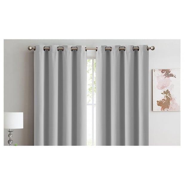2x 100% Blockout Curtains Panels 3 Layers Eyelet Grey 140x230cm