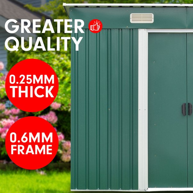 Garden Shed Flat 4ft x 6ft Outdoor Storage Shelter - Green Image 6