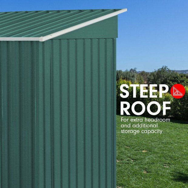 Garden Shed Flat 4ft x 6ft Outdoor Storage Shelter - Green Image 3