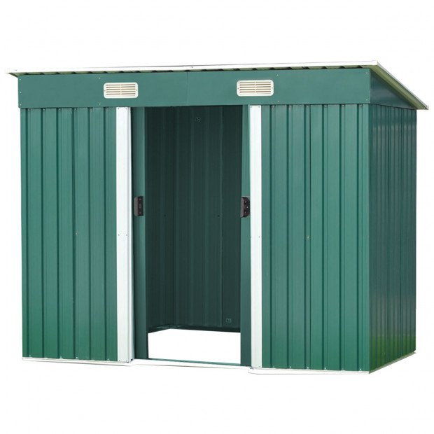 Garden Shed Flat 4ft x 6ft Outdoor Storage Shelter - Green Image 1