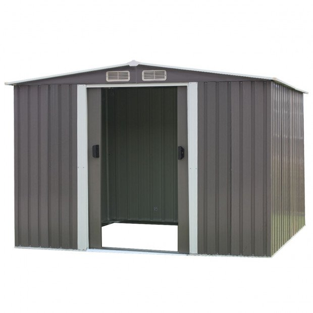 Garden Shed Spire Roof 6ft x 8ft Outdoor Storage Shelter - Grey