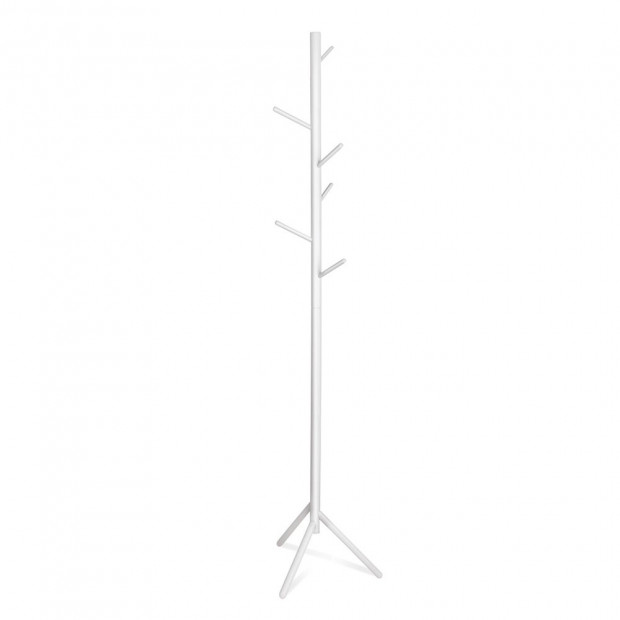 Wooden Clothes Stand with 6 Hooks - White