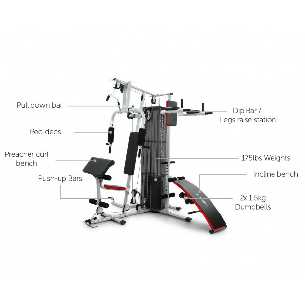 Powertrain Home Gym Multi Station with 175lb Weights and Dumbbells Image 8