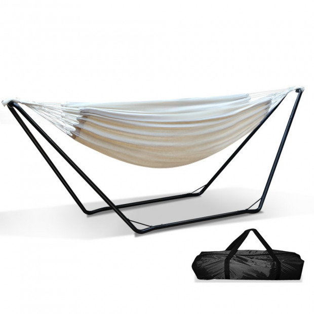 Free Standing Hammock Bed with Steel Frame - Cream model c Image 1